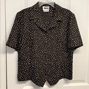 Leslie Fay Blouse Size 8P Black & Tan